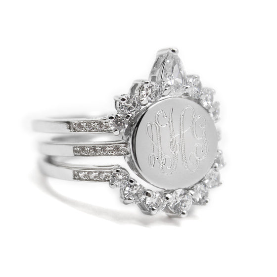 Sterling Silver CZ Triple Band Tiara Monogram Ring