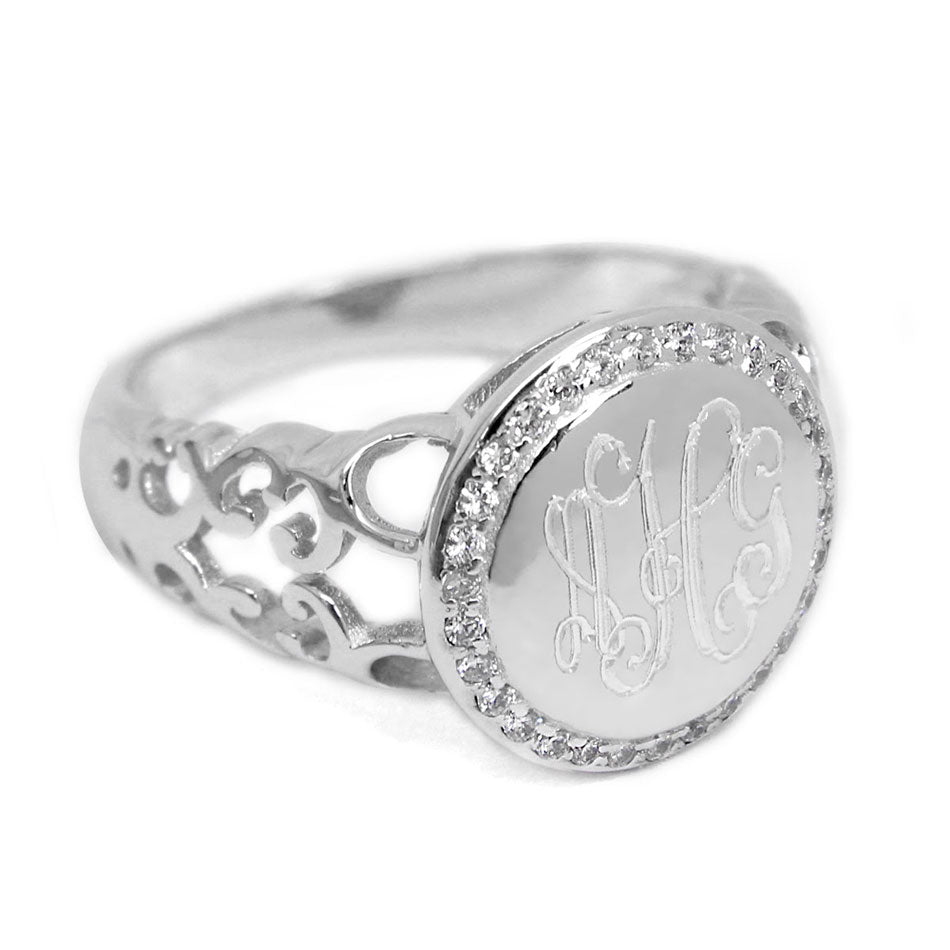 Silver CZ Rimmed Filigree Monogram Ring