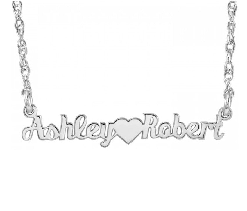 Mini Nameplate Necklace-Two Names and Heart 2