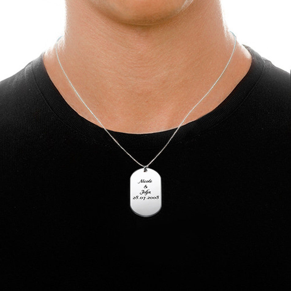 Personalized Sterling Silver Dog Tag Necklace 2