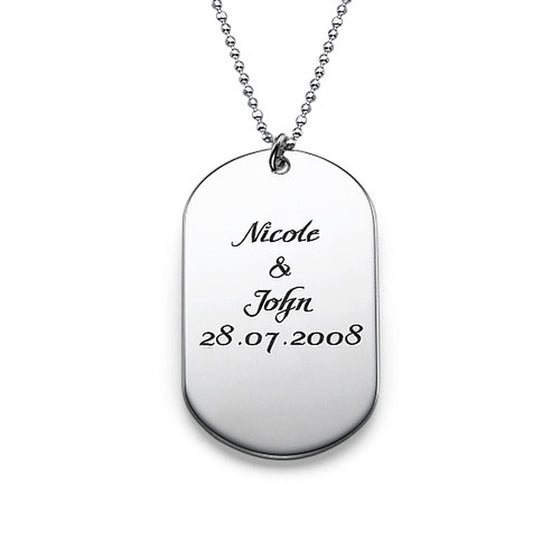 Personalized Sterling Silver Dog Tag Necklace