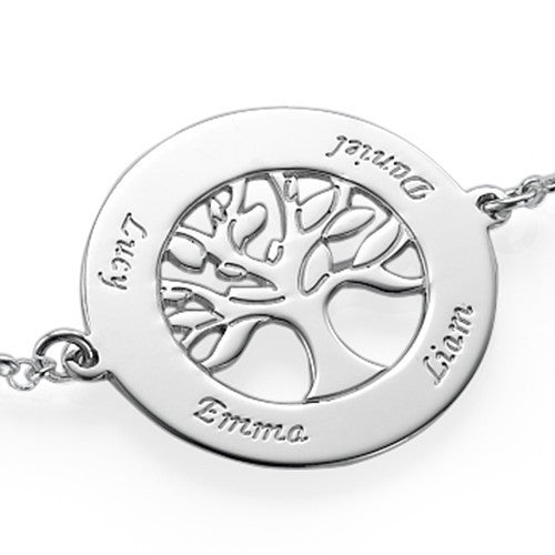 Sterling Silver Engraved Family Tree Bracelet 3