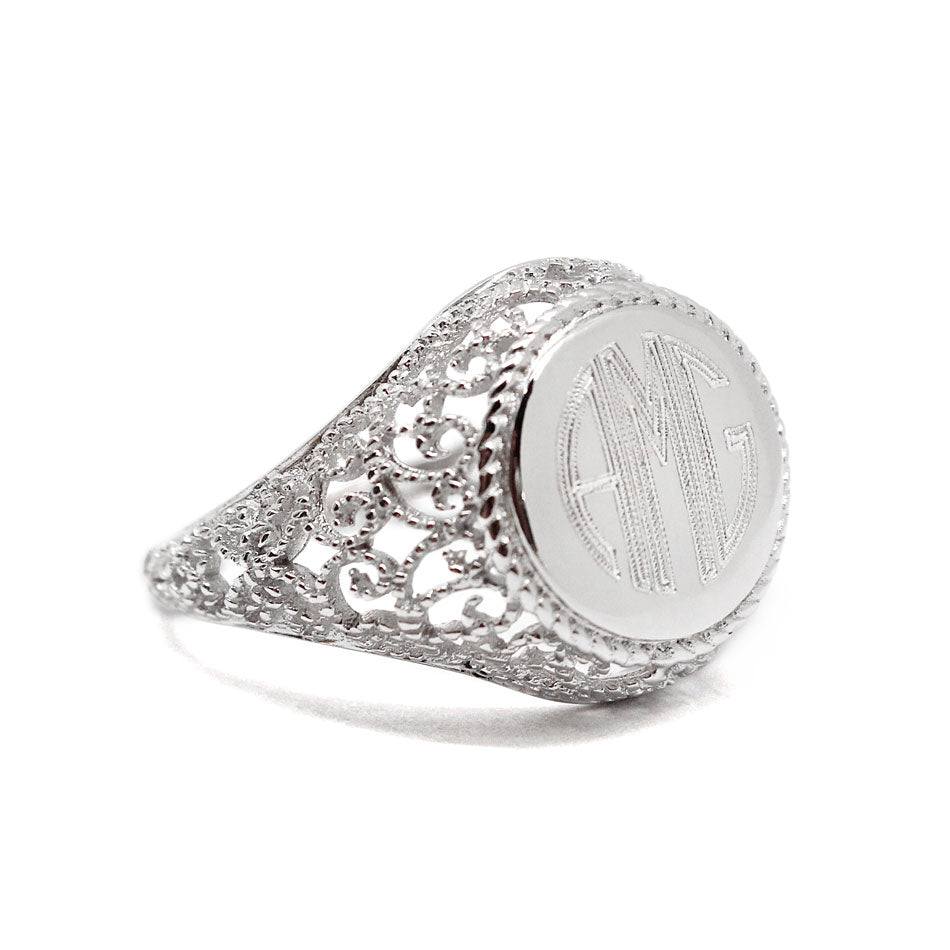 Sterling Silver Filigree Monogram Ring