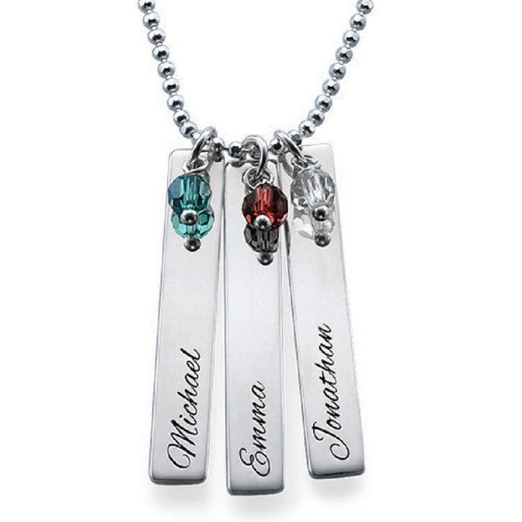Silver Vertical Name Tag Necklace with Birthstone