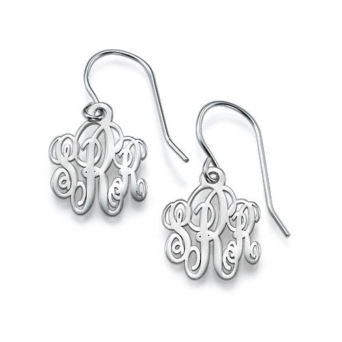 Sterling Silver Dangle Monogram Earrings