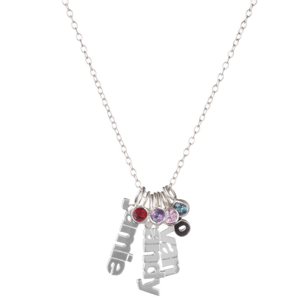 Silver Hanging Name Game Birthstone Necklace - Kourtney Kardashian