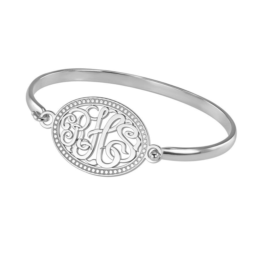 Monogram Bangle Bracelet - Classic Oval Bead Border