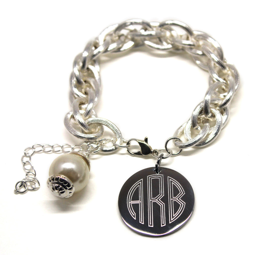 Silver Monogram Charm Bracelet with Pearl