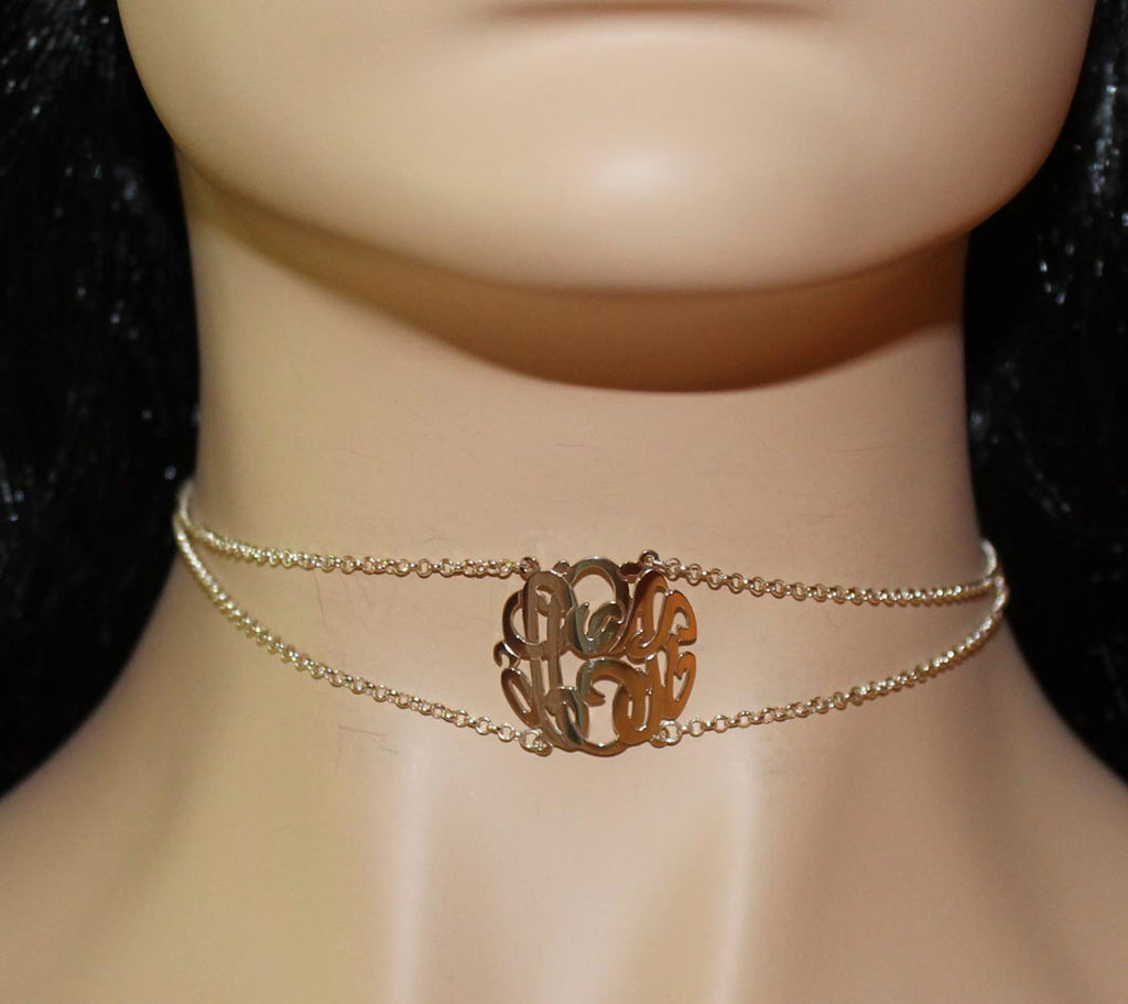 Sterling Silver Monogram Choker Necklace