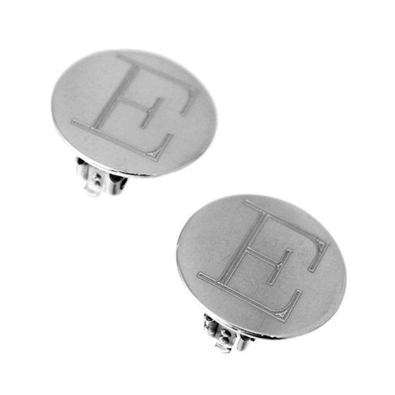 Sterling Silver Round Monogram Clip On Earrings