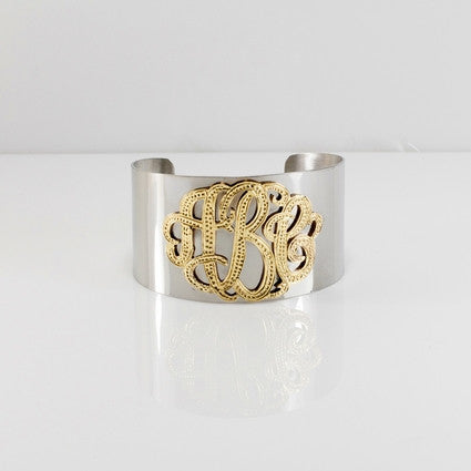 Silver and Gold Monogram Cuff Bracelet 4