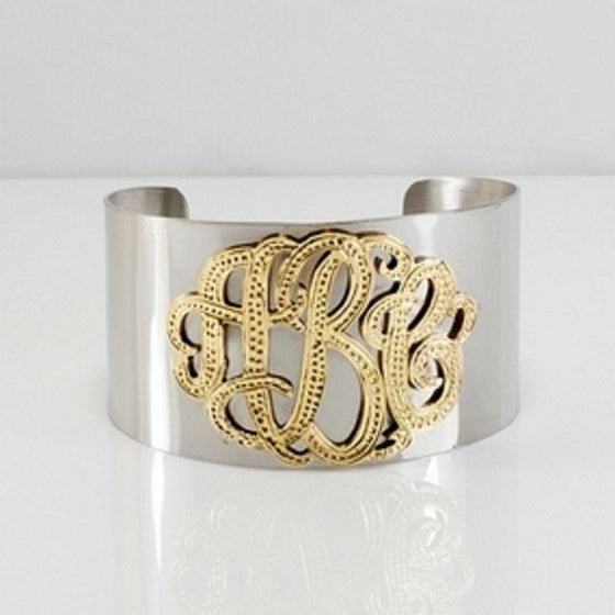 Silver and Gold Monogram Cuff Bracelet