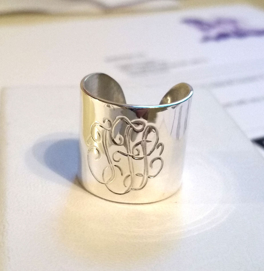 Engraved Silver Monogrammed Cuff Ring