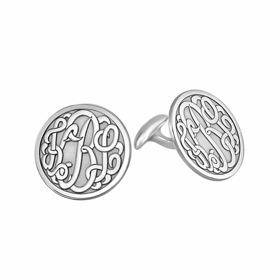 Round Bordered Script Monogram Cuff Links