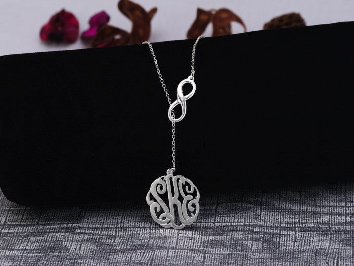 silver monogram infinity lariat necklace 7/8 inch
