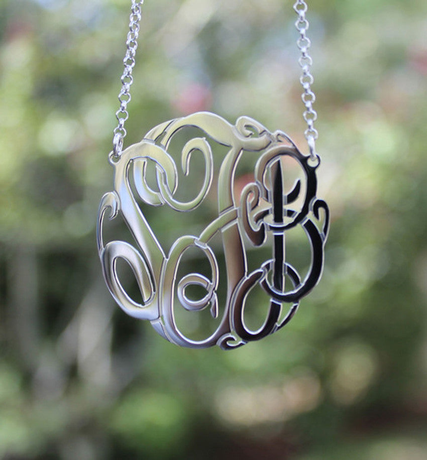 sterling silver monogram necklace - purple mermaid designs