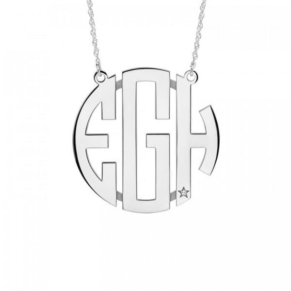16cec45f7923 Block Monogram Necklace with Diamond Accent from  145.00