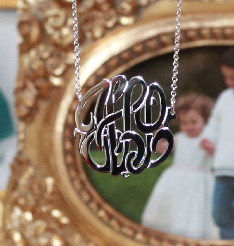 sterling silver monogram necklace by Purple Mermaid Designs