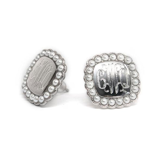 Silver Pearl Monogram Earrings