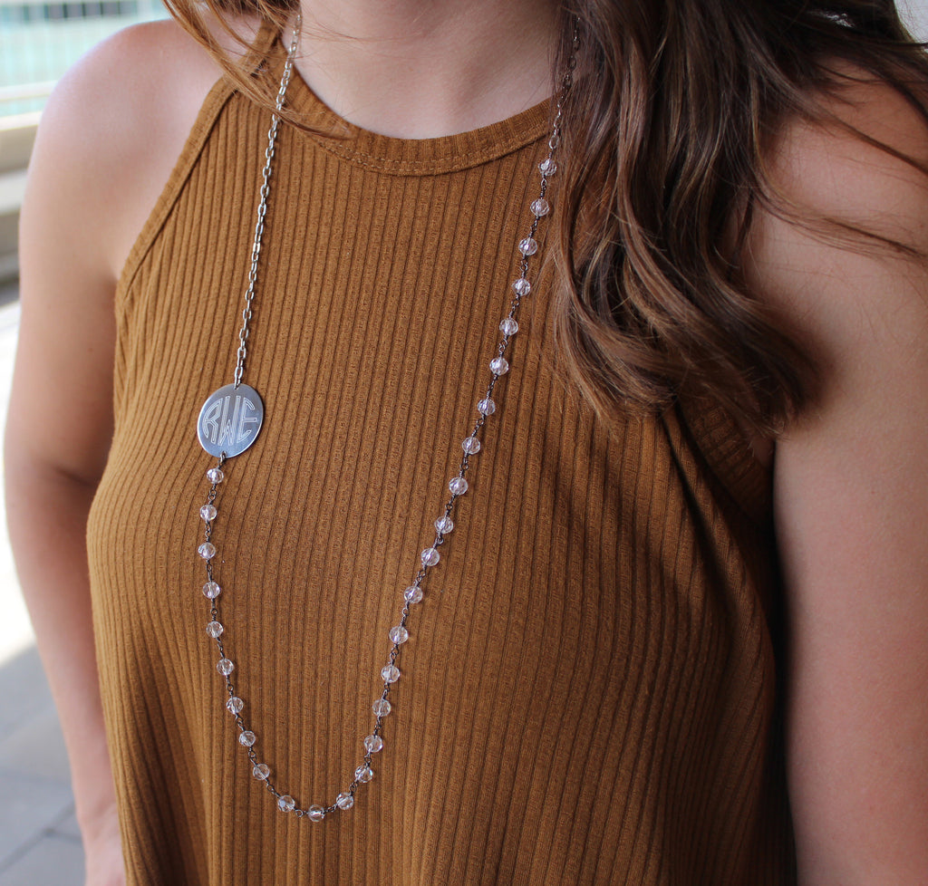 Monogram Crystal Necklace - Long Chain