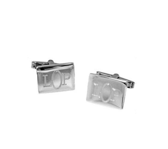 Sterling Silver Rectangle Monogrammed Cufflinks