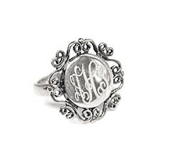 Sterling Silver Monogram Ring - Round Filigree