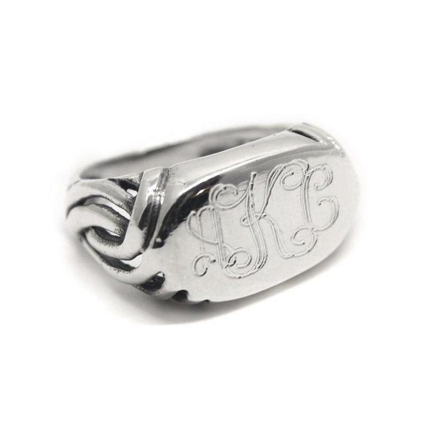 Sterling Silver Oval Scroll Monogram Ring