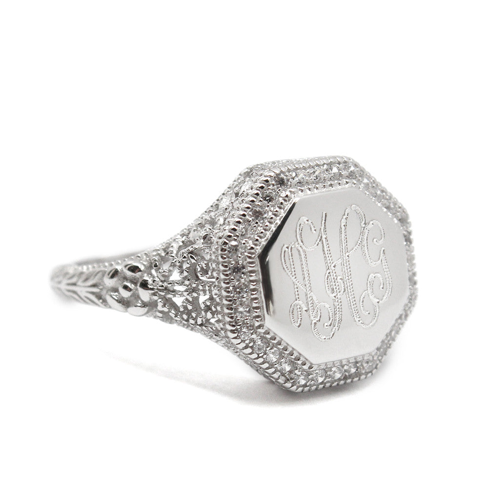 Sterling Silver Octagon CZ Filigree Monogram Ring