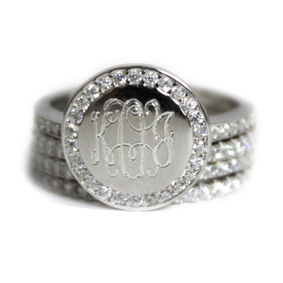 sterling silver cz monogram ring be monogrammed