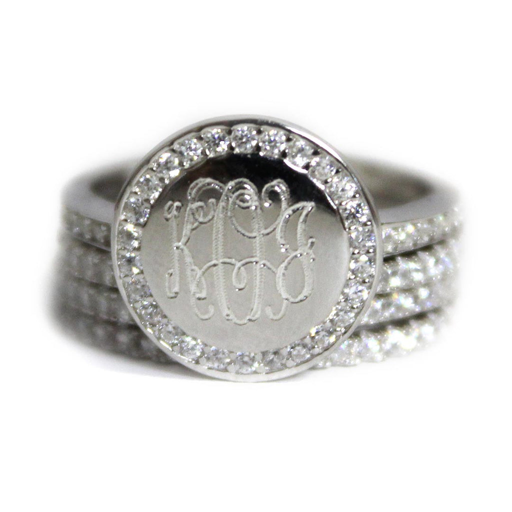 Gold CZ Rimmed Monogram Stacking Ring