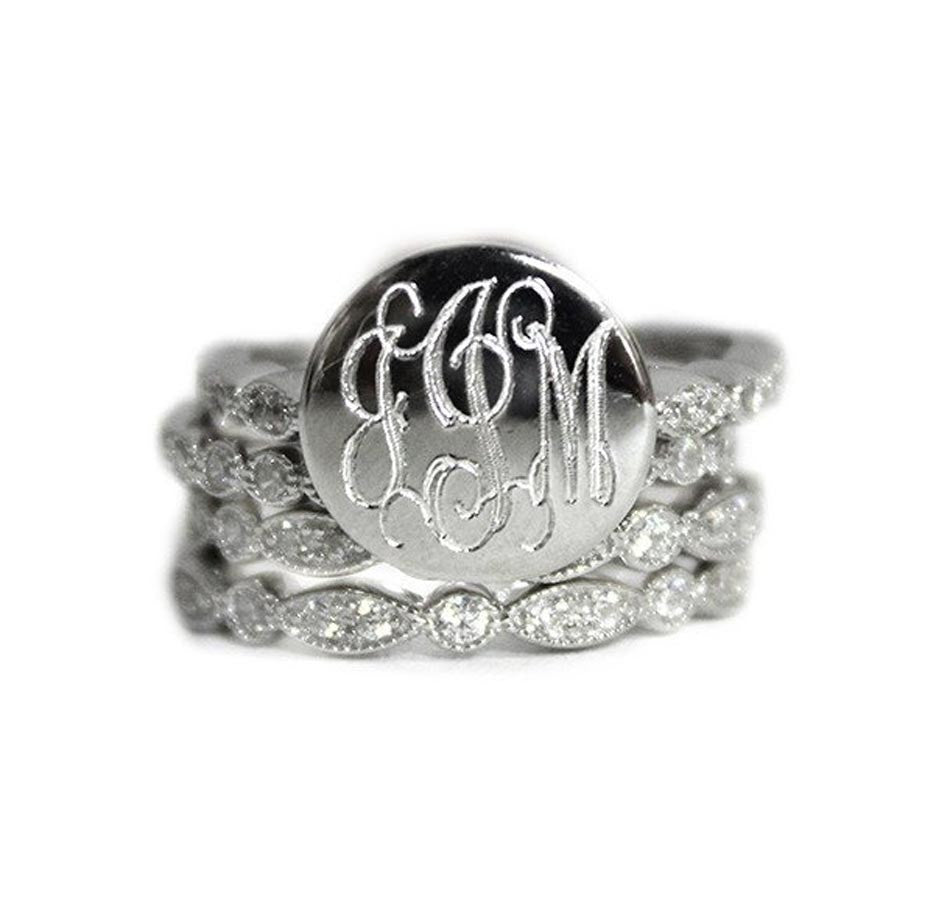 Sterling Silver CZ Monogram Ring Stacking Ring