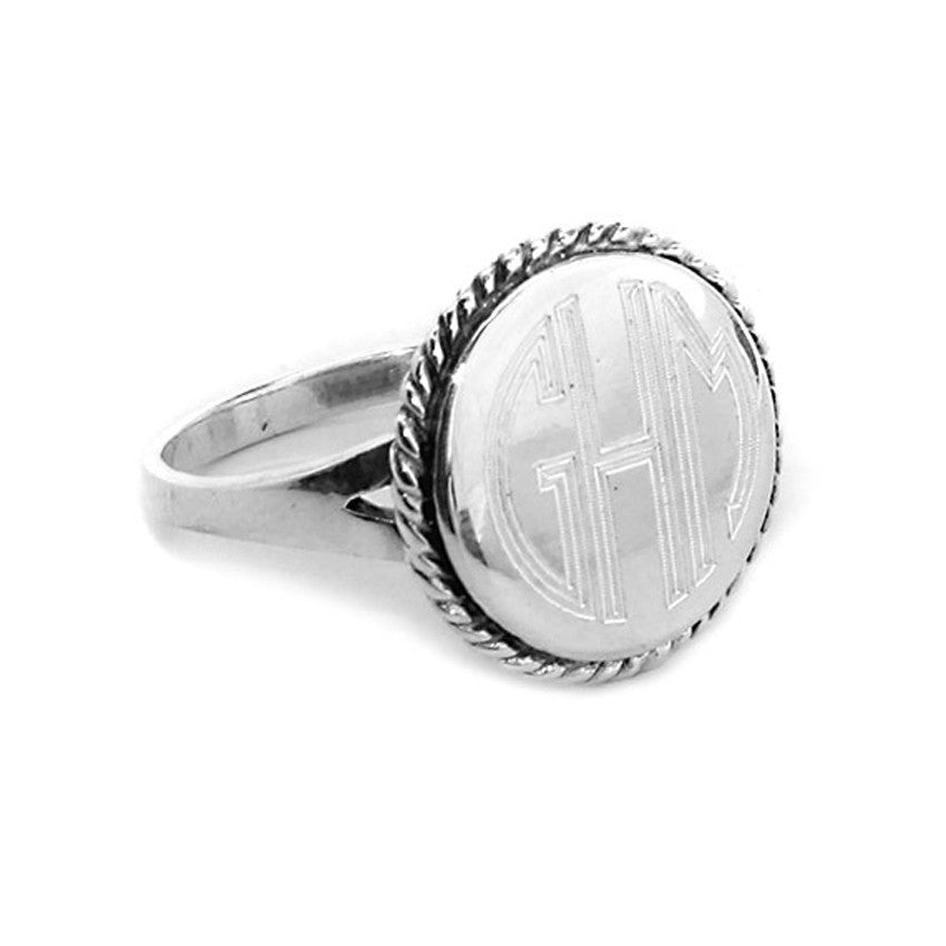 Silver Plated Round Rope Trim Monogram Ring