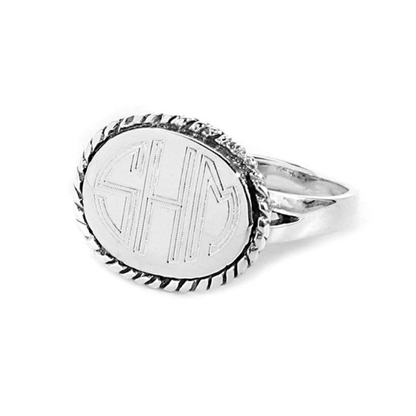 Oval Monogram Ring - Silver Rope Trim