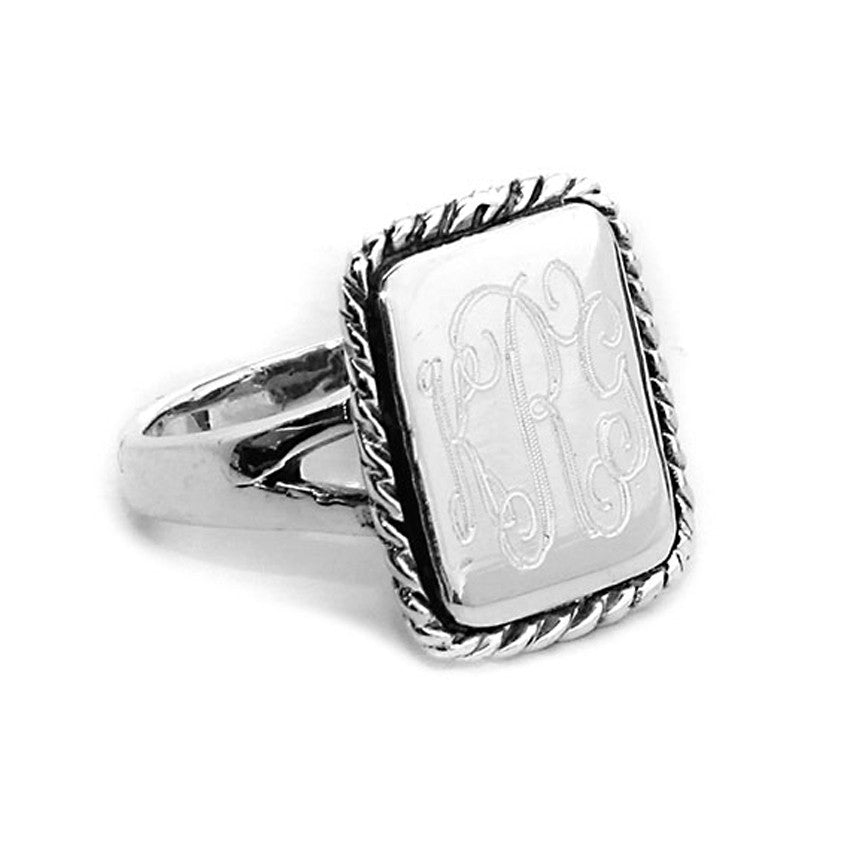 Silver Plated Rectangular Rope Trim Monogram Ring