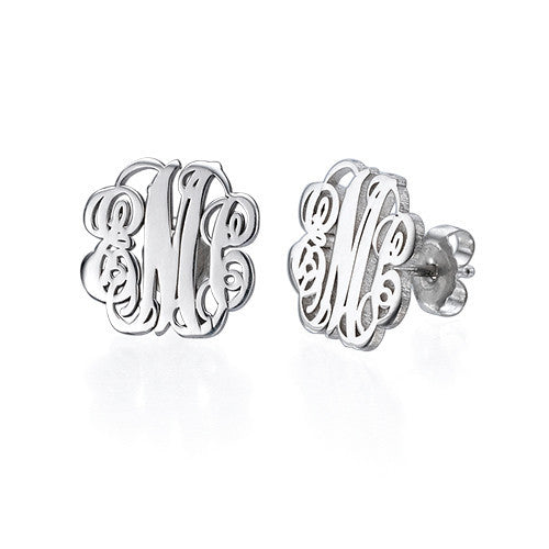 Sterling Silver Fancy Script Monogram Earrings
