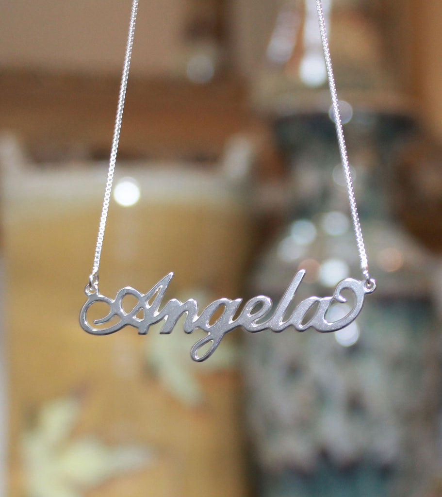 Sterling Silver Nameplate Necklace-Carrie Necklace 2