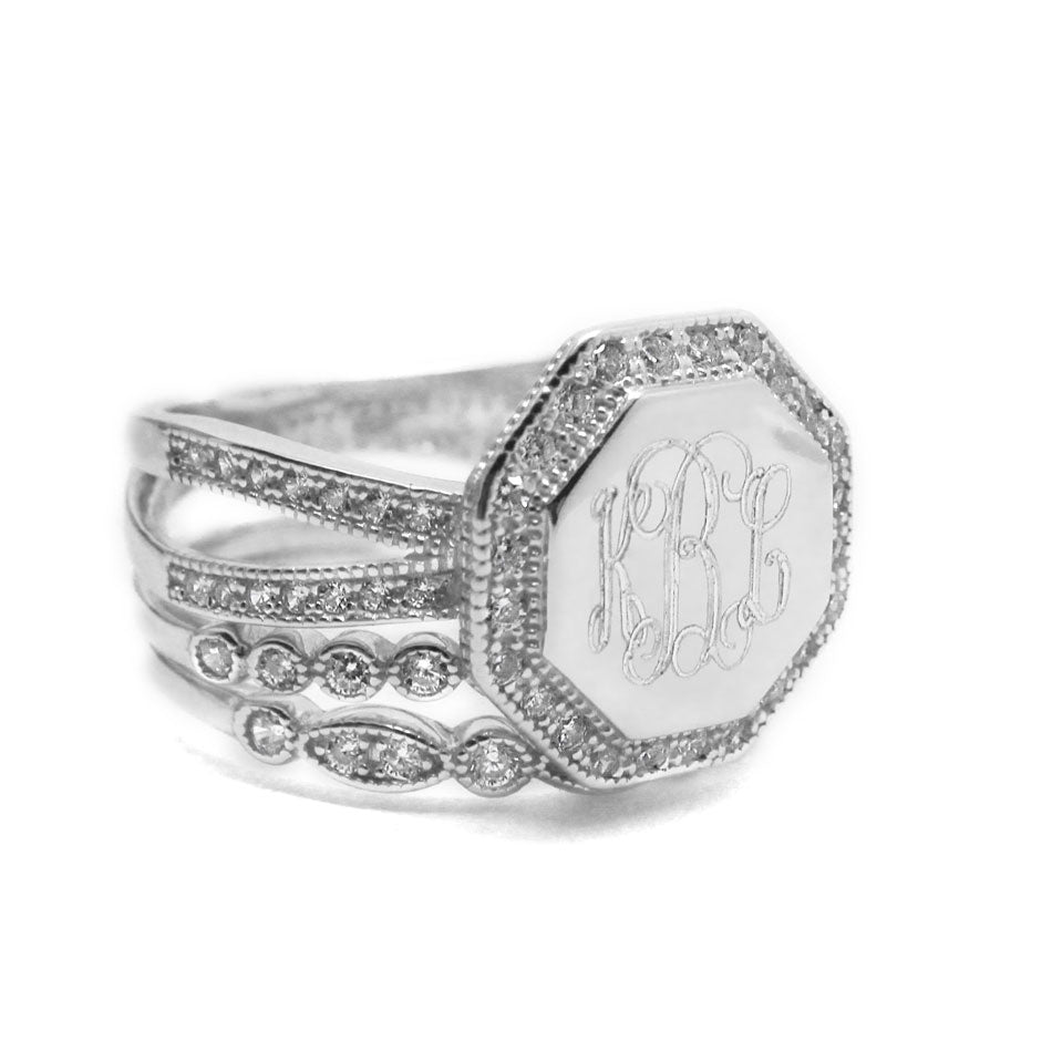 Silver CZ Rimmed Octagon Monogram Stacking Ring