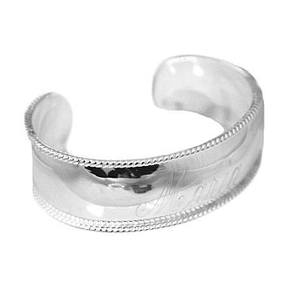 Silver Plated Rope Edge Cuff Bracelet