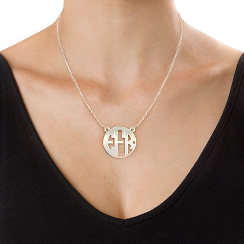 Silver Rimmed Block Monogram Necklace