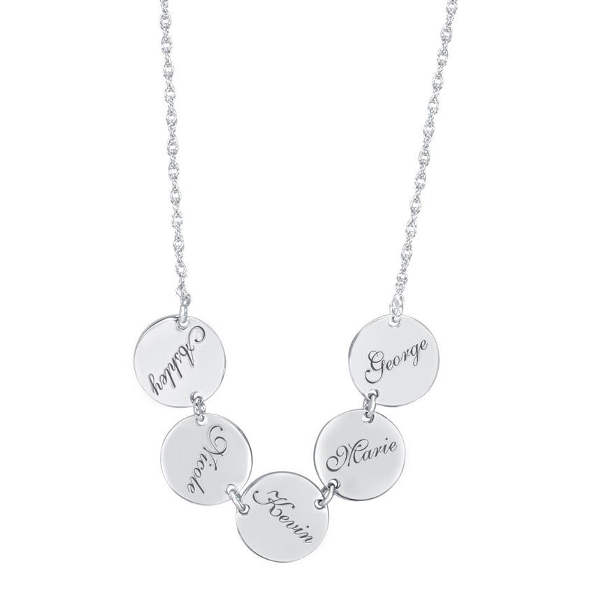Family Name Disc Necklace silver