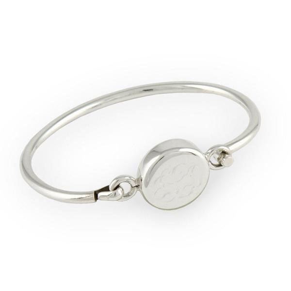 Monogram Sterling Silver Round Bangle Bracelet