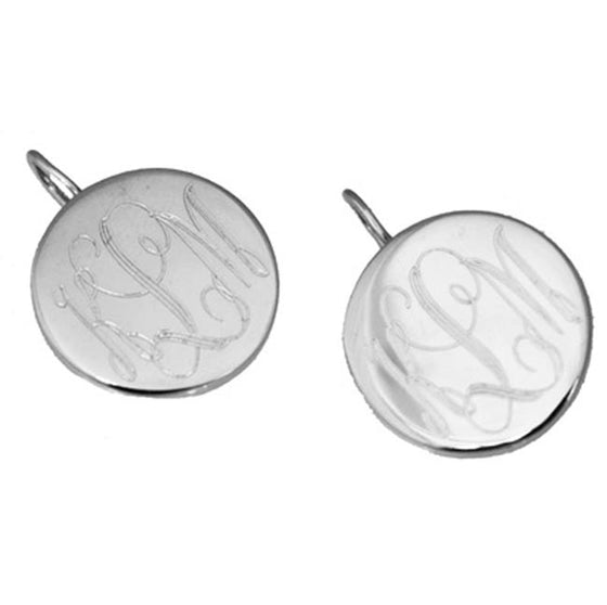 Monogram Sterling Silver Round Earrings-French Wire