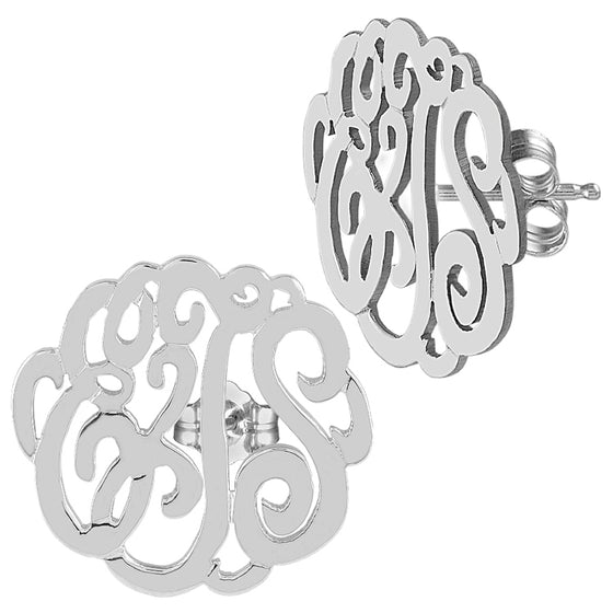 Sterling Silver Script Monogram Stud Earrings