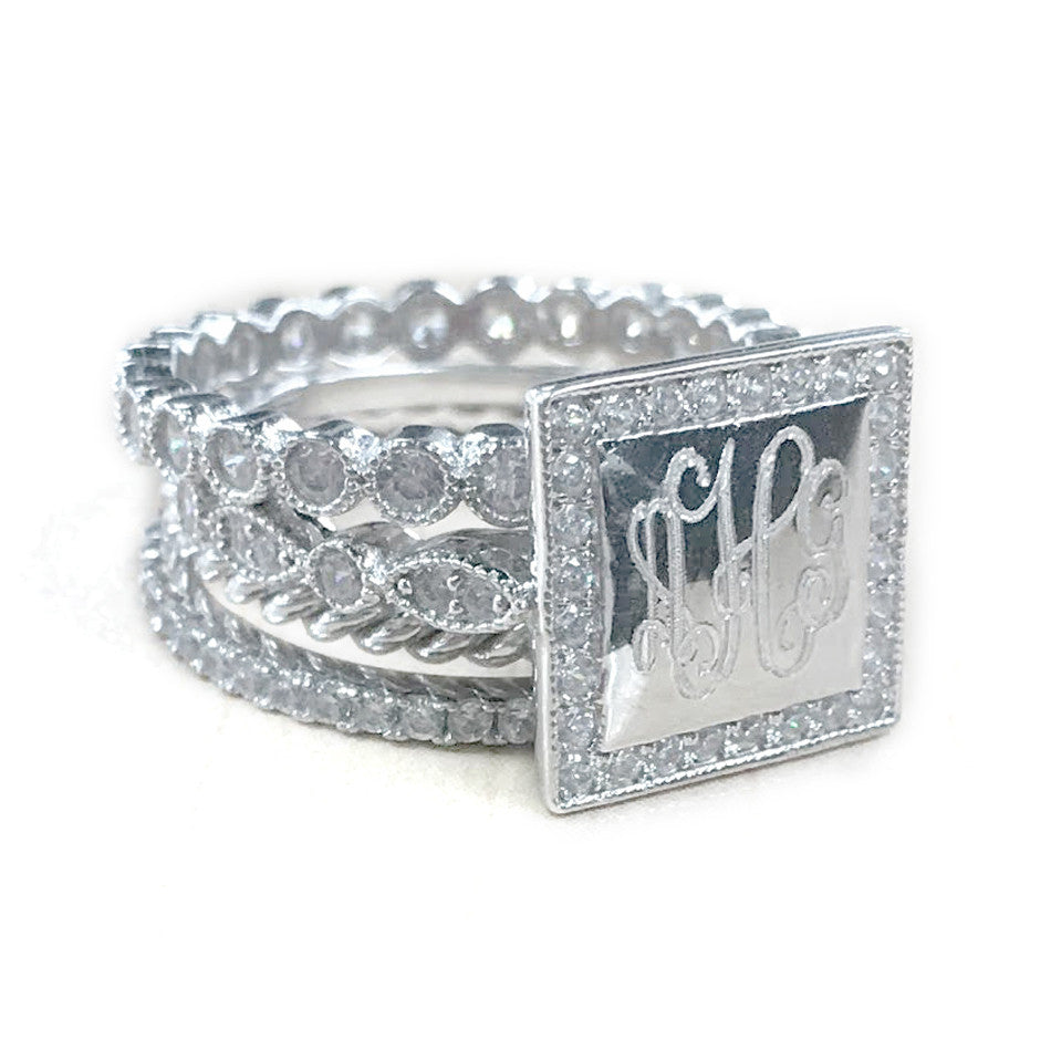 Sterling Silver Square CZ Rimmed Monogram Stacking Ring