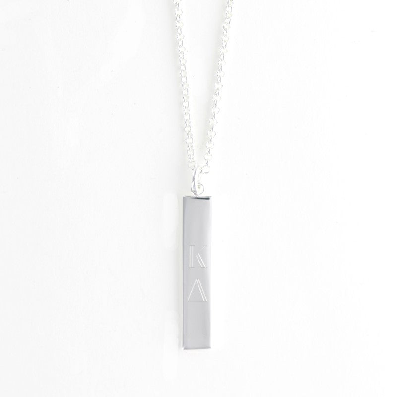 silver vertical bar necklace personalized