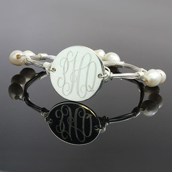 silver and pearl wire wrap monogram bangle bracelet