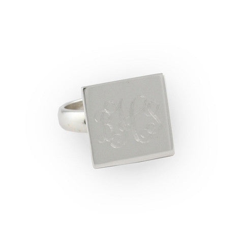 Monogrammed Sterling Silver Square Ring