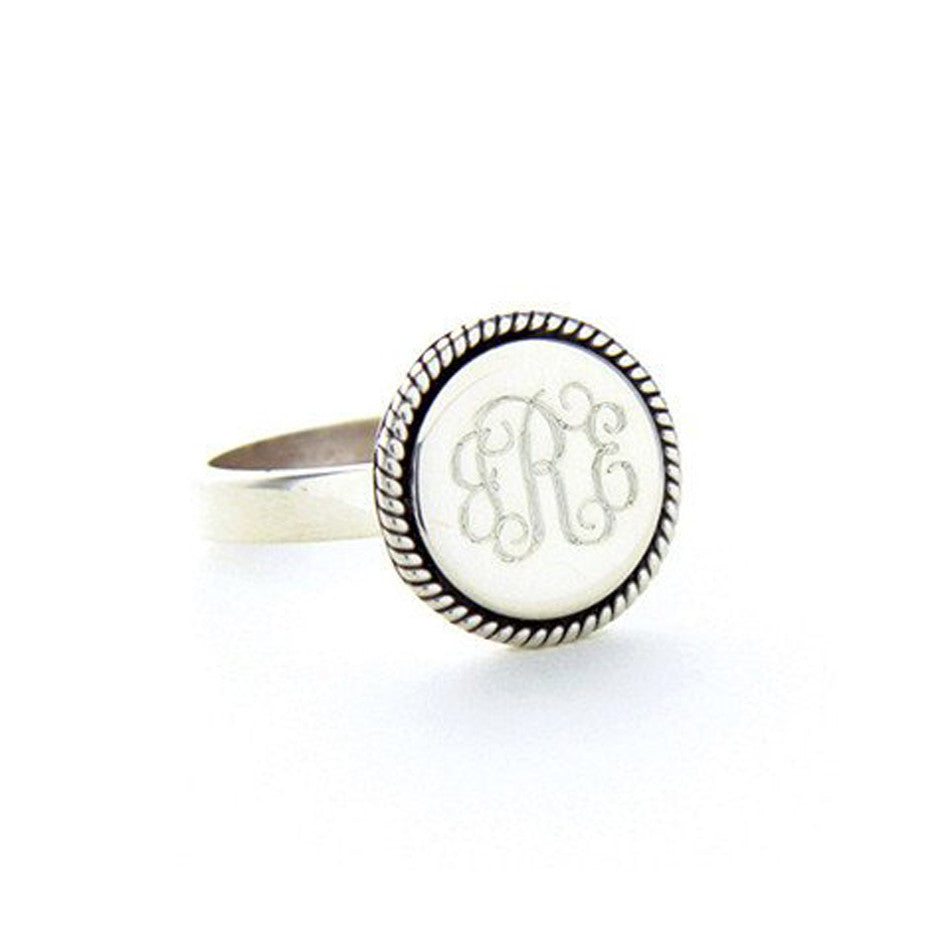 Personalized Sterling Silver Round Rope Trim Ring 3