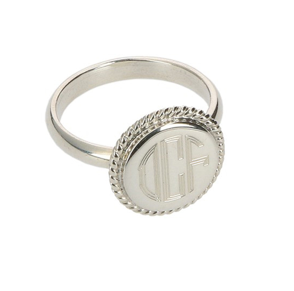 Personalized Sterling Silver Round Rope Trim Ring