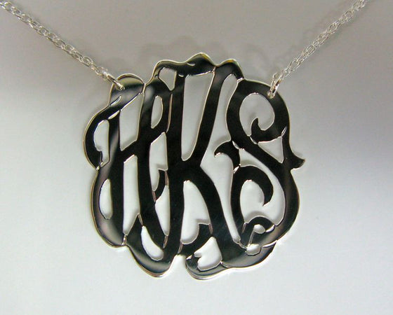 Medium Sterling Silver Freeform Monogram Necklace